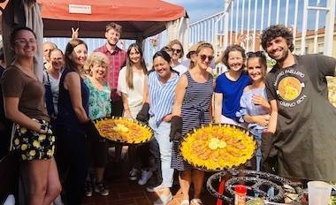 Spanish paella activity on the rooftop terrace of our student accommodation
