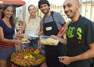 Our work experience trainees, helping Pedro with paella activity, summenr 2016