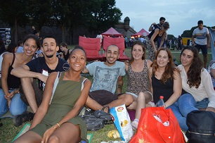Our work experience trainees, attending open air cinema, summer 2016