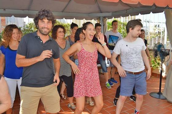 Salsa class on the school terrace